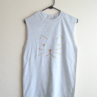 Cat Shirt Muscle Tee Soft Grunge Festival Clothing by TheGoldenCat