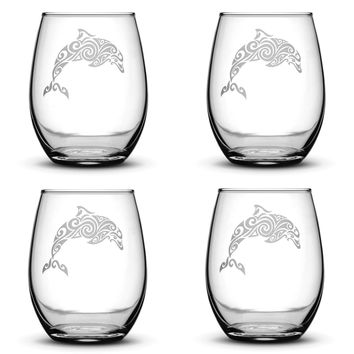Set of 4, Dolphin Stemless Wine Glasses, Made in USA, Tribal Design, Hand Etched