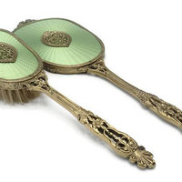 1920's Apollo Studio's New York Green Guilloche Enamel Gold Filigree Hand Mirror And Brush