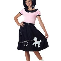 Child 50's Hop With Poodle Skirt (Small,Pink/Black)