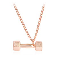 Creative Rose Gold Barball Pattern Pendant Necklace Gift  + Nice Gift Box