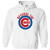 """Chicago Cubs """"Reverse The Curse"""" Hooded Sweatshirt ADULT LARGE"""