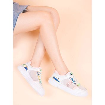 Holographic Detail Lace-up Front Sneakers