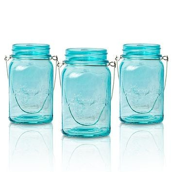 (6-Pack) Fantado Regular Mouth Water Blue Mason Jar with Handle, 16oz / 1 Pint