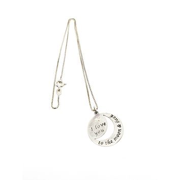 RJ Graziano I love you to the moon and back sterling silver pendant necklace 925