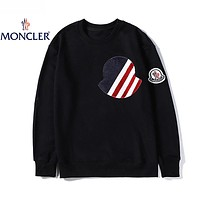 Moncler Autumn Winter Women Men Fashion Pure Cotton Sweater Sweatshirt Black