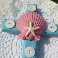 Cross Wall Hanging Shabby Chic Beach Original Art