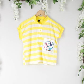 Vintage Sailboat Yellow Polo Blouse