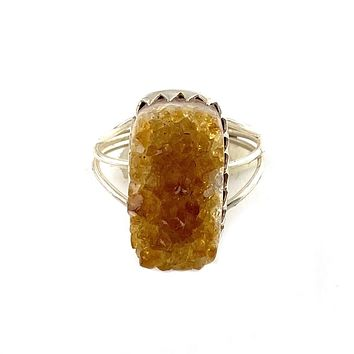 Citrine crystal Rough Sterling Silver Ring