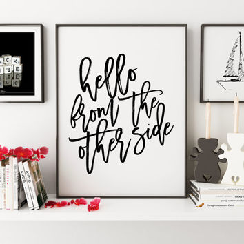 PRINTABLE Art,Hello From The Other Side,ADELE POSTER,Adele Lyrics,Girls Room Decor,Girls Bedroom Art,Gift For Her,Love Sign,Typography Art