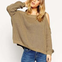 ASOS Chunky Jumper With Cold Shoulder and Split Sides