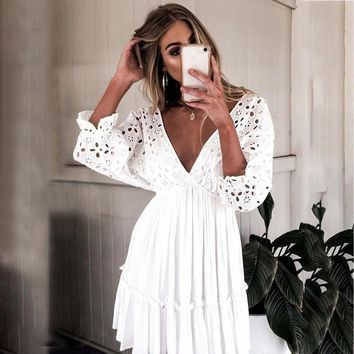 Sexy embroidery cotton white dress women Elegant ruffle pleated dresses V neck hollow out short dress vestidos