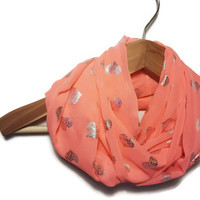 Heart Scarf - neon infinity scarf heart infinity scarf coral fashion scarf chiffon scarf sparkly infinity scarf heart loop scarf