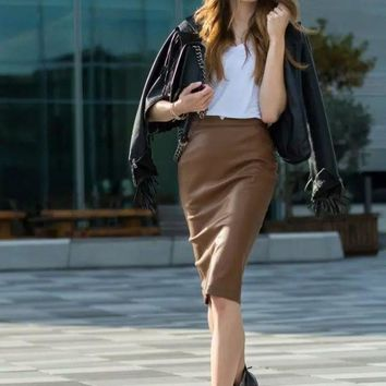Winter Women's Fashion PU Leather Skirt [6513129607]