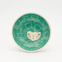 Ceramic serving bowl - Turquoise ceramic bowl - Ice cream bowl - Mint serving bowl - face bowl - gif idea - unique gift - MADE TO ORDER