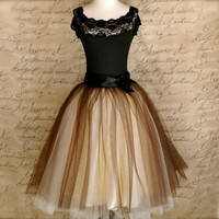 Brown and cream tutu for women. One of our popular tulle skirts, now with wide black ribbon waist.