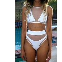 2017 Sexy High Cut Mesh Splice Bikini Set High Waisted Two Piece Swimsuit Swimwear For Women Push Up Beach Beachwear Black White