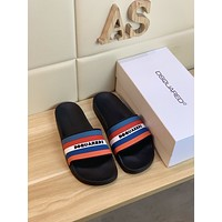 DSQUARED2~D  Popular Summer Women's Flats Men Slipper Sandals Shoes