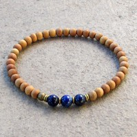 Compassion - Sixth Chakra, Sandalwood and  Genuine Lapis Lazuli Gemstone Mala Bracelet