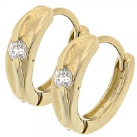 Gold Layered 5.130.007 Huggie Hoop, with White Cubic Zirconia, Polished Finish, Golden Tone