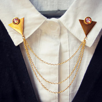 Gold triangle collar pins with pink opals, collar chain, collar brooch, lapel pin, triangle pin, triangle brooch
