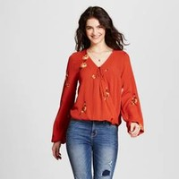 Women's Printed Wrap Top - Mossimo Supply Co.™ Rust