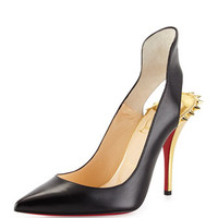 Christian Louboutin Survivita Leather Spike Red Sole Pump, Black/Gold