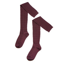 Burgundy Cable Knit Over Knee Socks