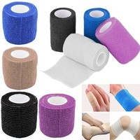 2.5cmX5m Blue/White/Black/Pink/Skin Color Self-Adhesive Elastic Bandag First Aid Tool Treatment Gauze Tape for Safety Care Tool