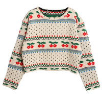 Cherry Jacquard Cropped Sweater - Choies.com