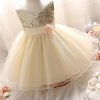 2016 Girl Dress Sequins Pageant Party Baby Kids Clothing Flower Baby Girl Christening Gowns For Princess Toddler Girls Clothes