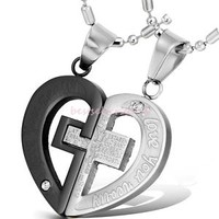 """His & Hers Couple Stainless Steel Cross Heart Pendant """"LOVE YOU REALLY"""" Necklace"""