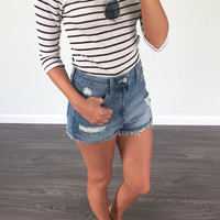 Drive Me Crazy Black and White Stripe Ribbed Quarter Length Sleeve Crop Top