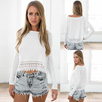 New Women's Long Sleeve Shirt Casual Lace Blouse Loose Cotton Tops Lady T Shirt