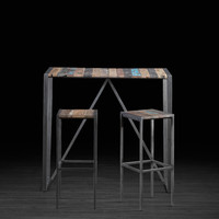 Urban Bar Table Made of Recycled Boat Wood | Industrial Kitchen Table Perfect for 2-4 People Made of Vibrant Salvaged Wood and Metal