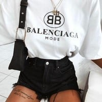 Balenciaga Women Hot Tunic T-shirt Top Blouse
