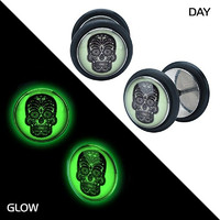 Glow In the Dark Skull Day of the Dead 18g Earrings Ring Fake Cheater Ear Plugs -Sold as pair