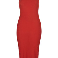 Ribbed Midi Bodycon Dress - Red