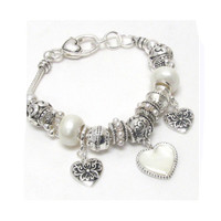 Beautiful and Eye Catching Silver and Pearl Pandora Style Heart Charm Bracelet