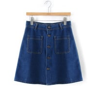 Summer Women's Fashion High Rise Rinsed Denim Denim Dress Skirt [5013354564]