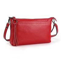 Women Genuine Cow Leather Candy Color Cross Body Bag