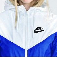 Nike Fashion Hooded Zipper Cardigan Jacket Coat Windbreaker Sportswear White-blue
