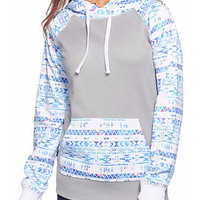 Color Block Totem Print Hooded Sweatshirt