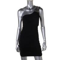 Trixxi Womens Cut-Out One Shoulder Clubwear Dress