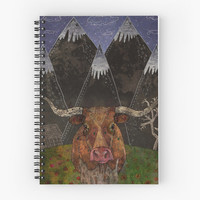 Starry Night - Spiral Notebook /// Texas Longhorn Steer, Cow Notebook, Art Notebook, Art Journal, Diary Book, Art Planner, Lined Notebook