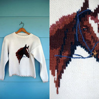 1970s. cream knit pullover horse sweater. s-m