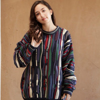 90s COOGI style blue & black ABSTRACT slouchy sweater