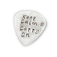 Guitar Pick Keep Calm & Carry On Hand Stamped Music Lovers Men Gift for Him Birthday