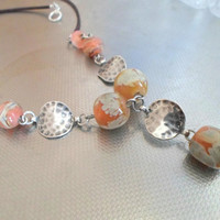 Handmade jewelry, Romantic Lampwork Necklace, Glass and Sterling Necklace, Statement Necklace, Lampwork jewelry for Her