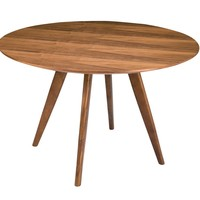 """Dover Small Contemporary Round Dining Table Walnut Wood 39"""""""